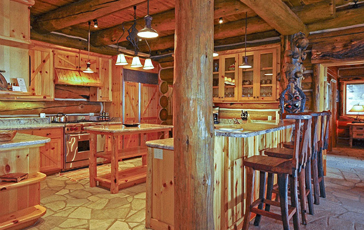 Incline village upscale rustic rental log home for Log home kitchens gallery